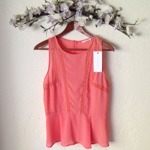 LUSH Sleeveless Pleated Coral Blouse